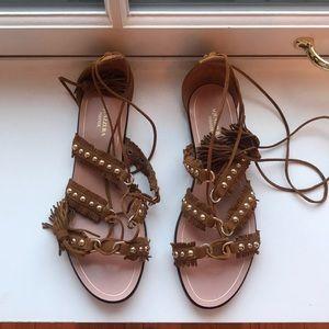 Aquazurra Tulum brown suede tassel sandals